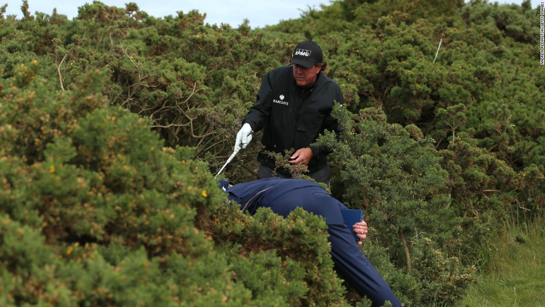 Pro golfer Phil Mickelson stands in a bush as he looks for his ball Thursday, July 16, at the British Open in St. Andrews, Scotland.