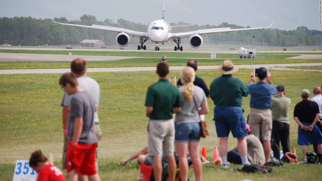 The world's newest airliner, the Airbus A350XWB, stopped at Oshkosh during its tour of North and South America.