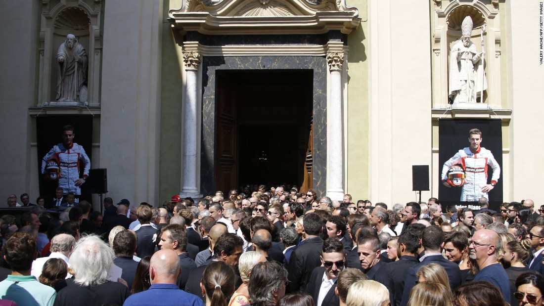 A large crowd gathered to pay tribute to the Marussia driver, who died following the effects of head injuries sustained in a crash in rainy conditions at the 2014 Japanese Grand Prix.