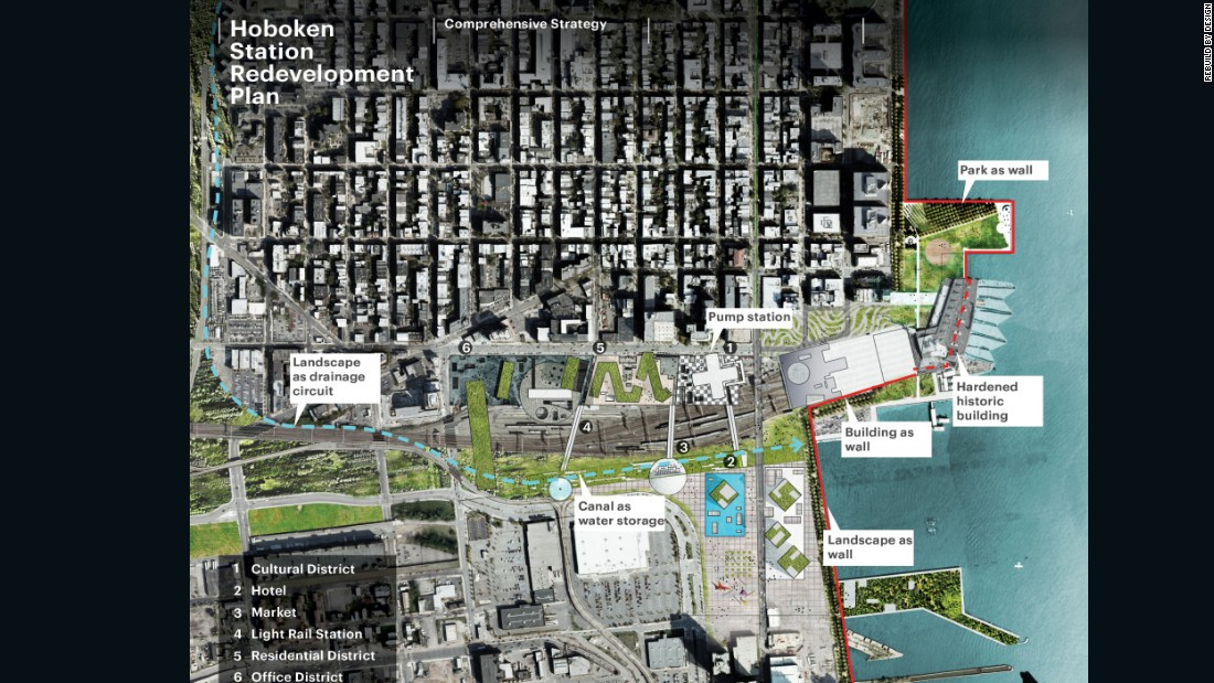 The scheme emerged from a Rebuild by Design competition, which also proposed solutions for the Hoboken area, making an asset of flood water.