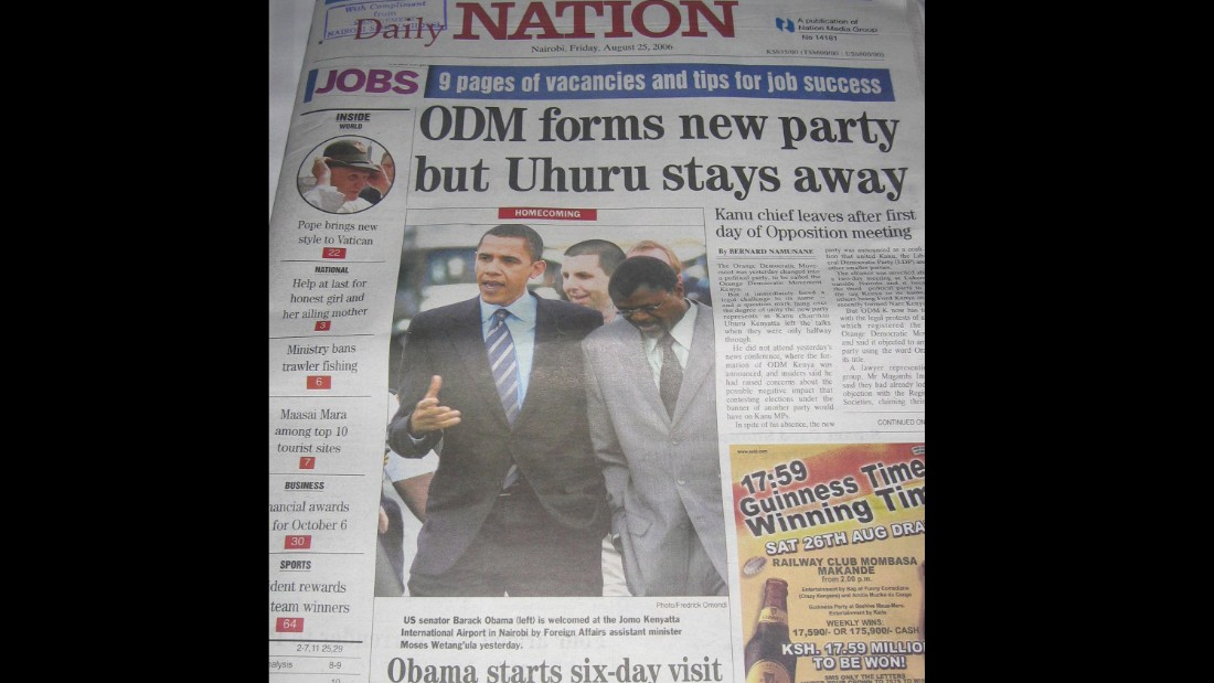 The Nation, the premiere newspaper in Nairobi, treated the freshman senator's visit as major news.