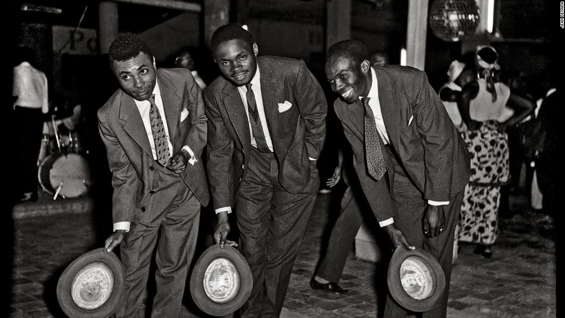 Jean Depara captured the glamor of 1950s Léopoldville (now Kinshasa) in his photographs. He was the designated photographer for the the musician Franco, and enjoyed nightclubs in the late hours to snap people as they left. He also followed the Bills -- the term for young Congolese men from working class neighborhoods who styled themselves after actors from American Westerns. (Pictured: Untitled, c. 1955-65)