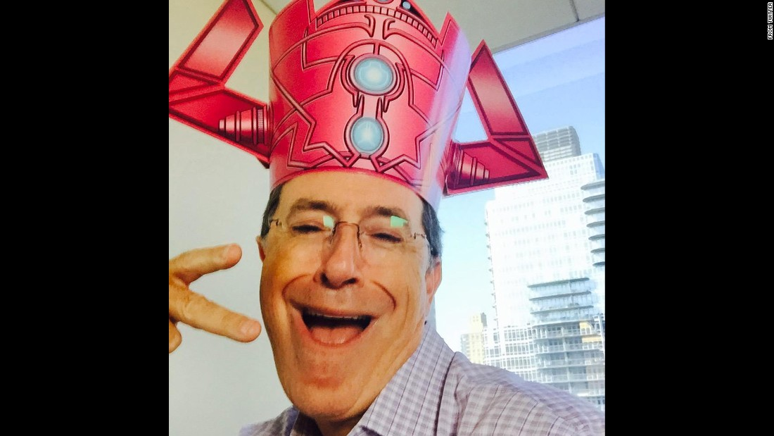 "Talk-show host Stephen Colbert <a href=""https://twitter.com/StephenAtHome/status/623190871828262912"" target=""_blank"">tweeted this selfie</a> of him wearing a Galactus hat on Monday, July 20. Galactus is a villain from Marvel Comics."