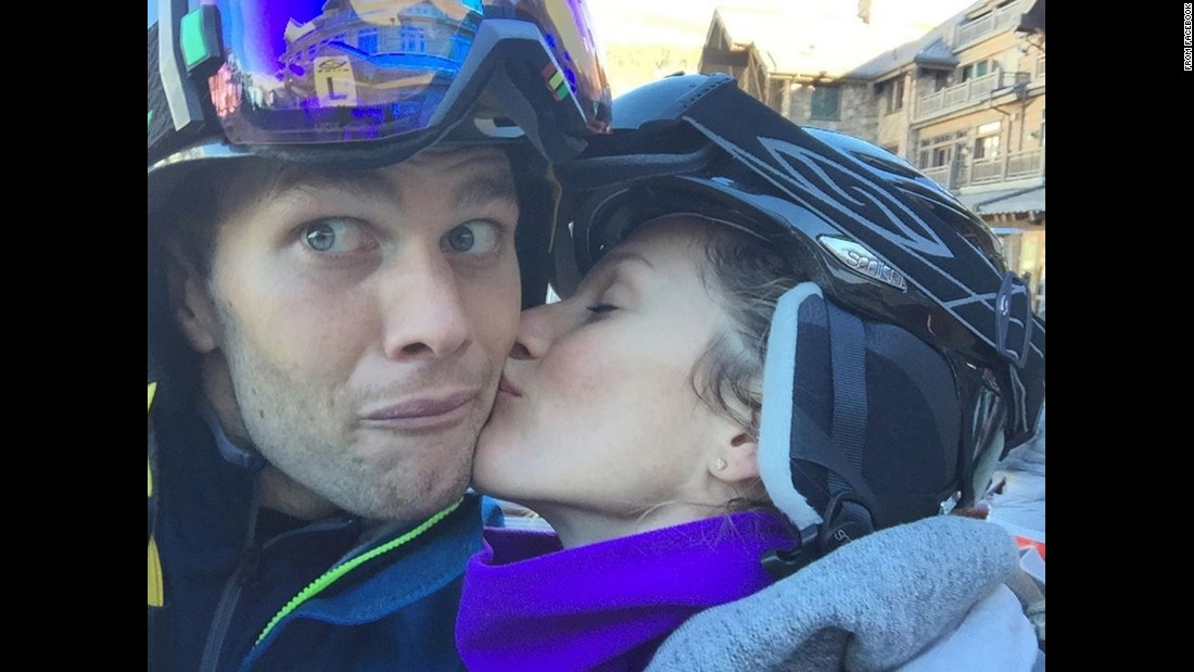 "Football star Tom Brady gets a kiss from his wife, model Gisele Bundchen, in this selfie <a href=""https://www.facebook.com/TomBrady/photos/a.233362006704957.53331.214003275307497/952636958110788/?type=1&theater"" target=""_blank"">he posted to Facebook</a> on Monday, July 20. ""Happy Birthday to the Love of my Life,"" Brady wrote. ""The best is yet to come. We love you!"""