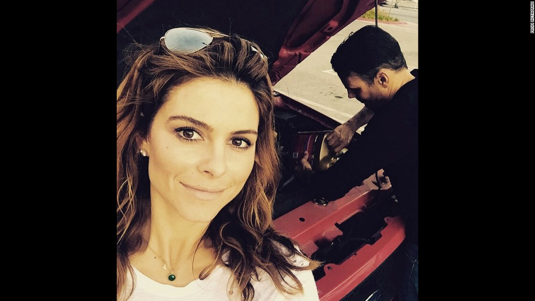 "Television host Maria Menounos takes a selfie Friday, July 17, as her husband puts antifreeze in their broken-down pickup truck. ""It worked...we made it!"" <a href=""https://instagram.com/p/5Yldt2MwR0/"" target=""_blank"">she said on Instagram.</a> ""Victory! Hahahah too much adventure for one night lol."""