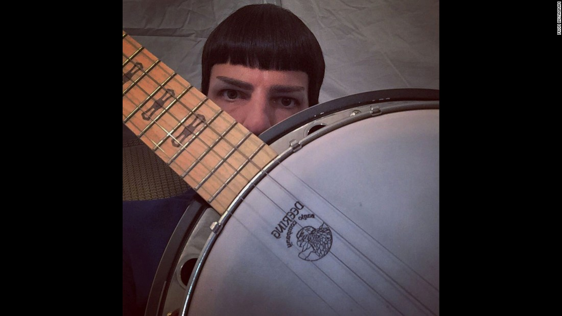 "Actor Zachary Quinto takes a selfie with a banjo on Monday, July 20. ""Constant companion bang up job,"" <a href=""https://instagram.com/p/5YPX90Li9v/"" target=""_blank"">he wrote on Instagram.</a>"