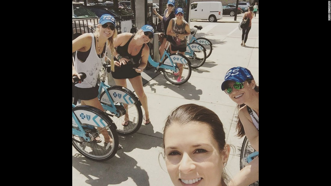 """How much fun can 6 girls in a big city have?! Bikes are a good start!"" <a href=""https://instagram.com/p/5XwJSBwffc/"" target=""_blank"">wrote NASCAR driver Danica Patrick,</a> front, while she was in Chicago on Monday, July 20."