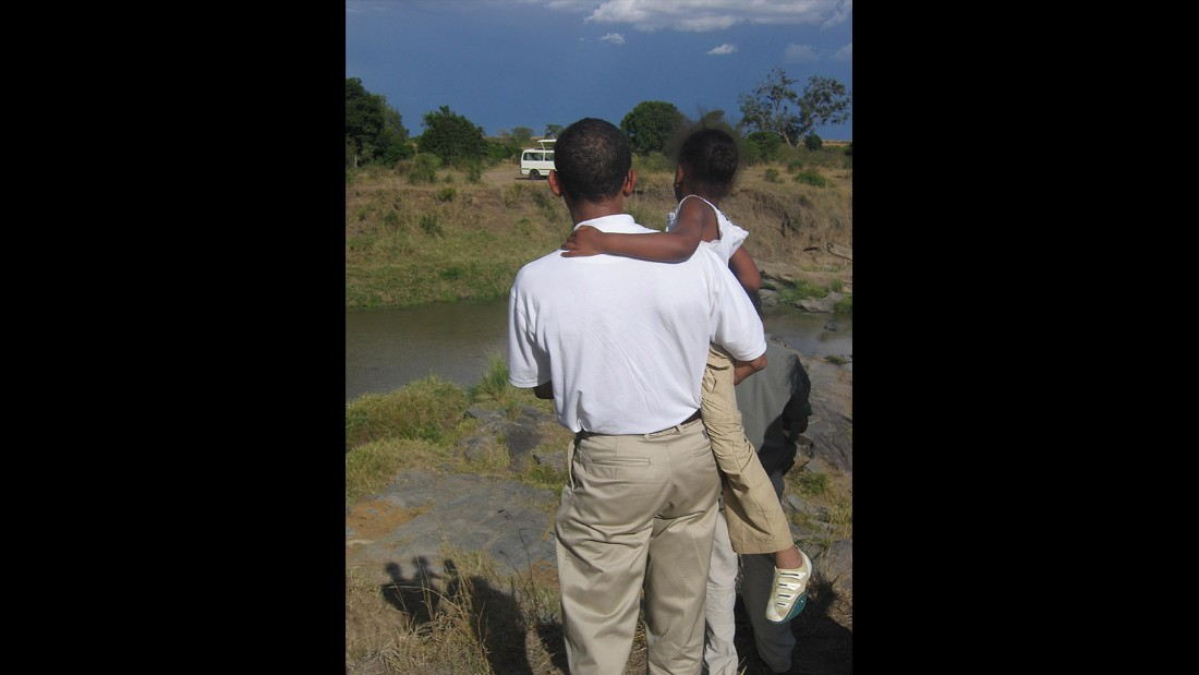 "Obama and Malia, who he playfully called ""Cool Breeze,"" enjoyed the scenery in rural Kenya."