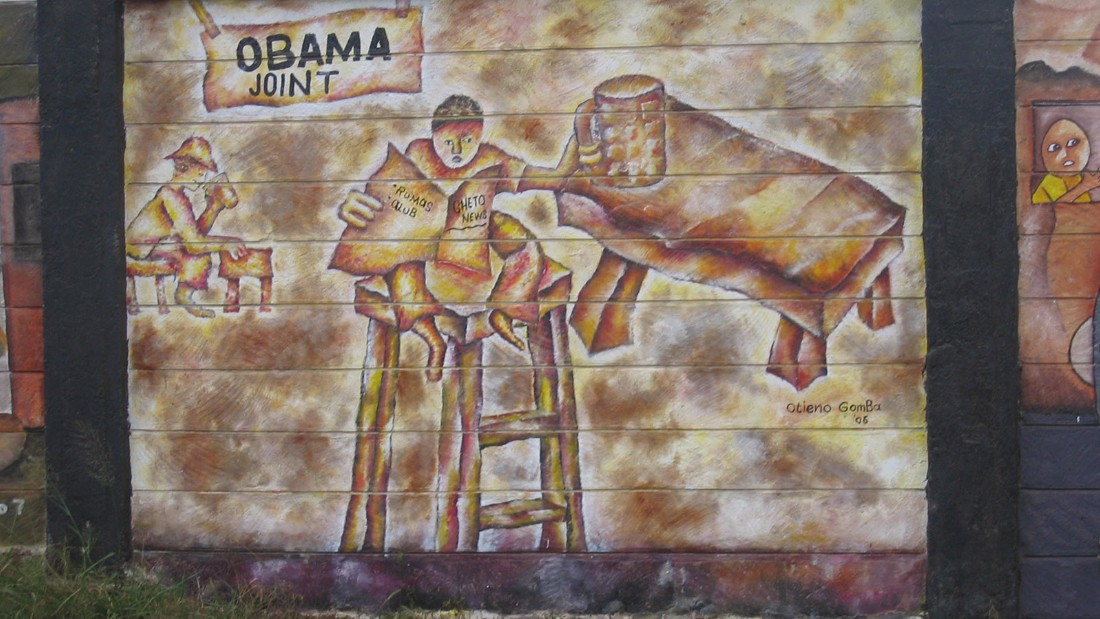 Artwork sprouted up across Kenya celebrating the ancestral roots of Obama, including this mural in Nairobi.