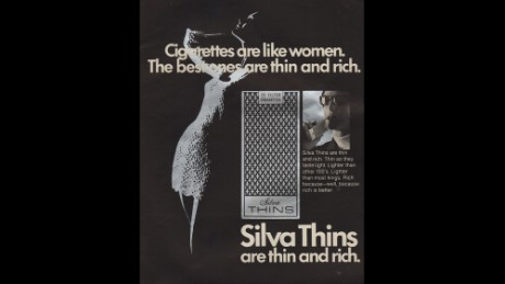 This 1970 ad for Silva Thins cigarettes was controversial for its blatant sexism against women.