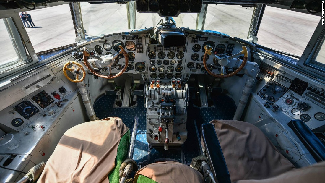 """Singaporean photographer Aram Pan toured North Korea and captured amazing 360-degree images. This shot shows the cockpit of an Air Koryo Ilyushin Il-18. Here's<a href=""""http://www.dprk360.com/360/air_koryo_Il-18/"""" target=""""_blank""""> a 360-degree virtual tour of the plane</a>."""