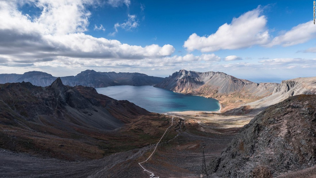 "Pan trekked up Paektu Mountain, a dormant volcano that is North Korea's highest. <a href=""http://edition.cnn.com/2015/05/15/politics/north-korea-kim-jong-un-executions/"">Kim Jong Un</a>, the country's leader, was photographed atop the mountain in April, 2015. (See the 360 image below)"