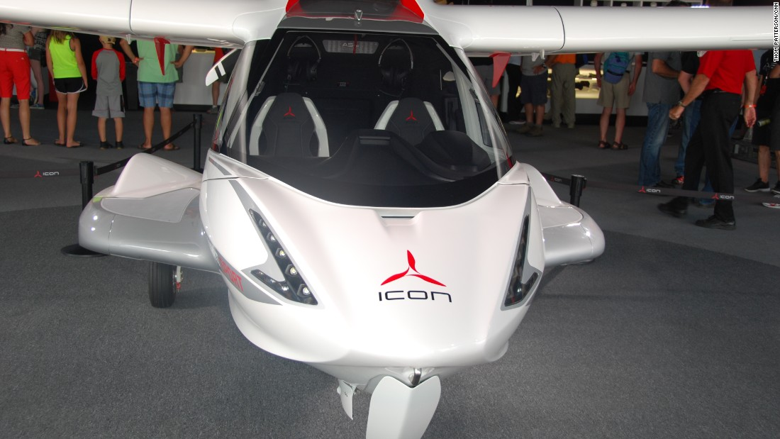 "Oshkosh also features new aircraft, like this ICON A5, a portable, amphibious two-seater described by some as a ""Jet Ski with wings."""