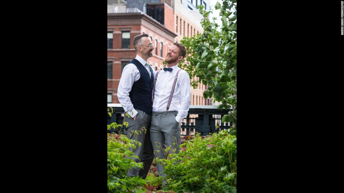 "Minneapolis couple Gregory Weber, left, and James Barnett thrive on the spontaneous moments in life. After a surprise trip to New York City, Broadway shows and a walk to the Lincoln Center, Weber proposed to Barnett on May 20, 2015. That night the couple of 10 years celebrated amongst close friends, but the party had just begun. Two days later, the couple exchanged vows on the landscape of New York City's High Line, as captured by <a href=""http://www.stevenrosenphotography.com/"" target=""_blank"">Steven Rosen Photography.</a>"