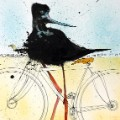 NEXTINCTIONS Black Shrike on a Bike 16714 Ralph Steadman