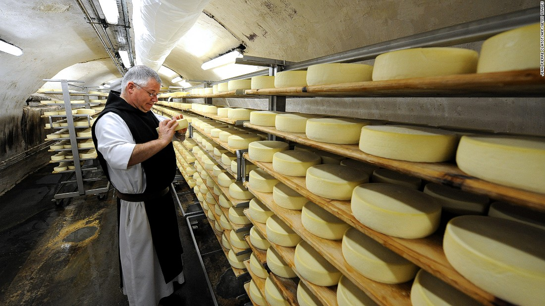 France produces hundreds of different types of cheeses. Brie and Camembert are among the most popular. In addition to cheese produced on local farms, in dairies and in factories are cheeses produced in abbeys.