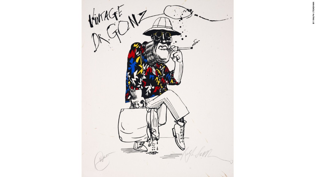 "Steadman's original version of this image appeared as an illustration to Hunter S. Thompson's book ""Fear and Loathing in Las Vegas"" in 1972. Thompson's signature can be seen bottom left, one of the few pieces of Steadman's work that the infamous writer countersigned."