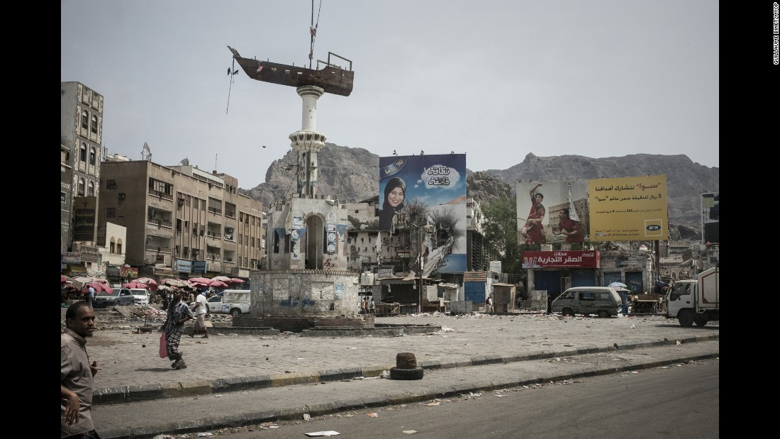 The port city of Aden, Yemen, has been under siege since March, when Houthi rebels forced out President Abdu Rabu Mansour Hadi. This photo shows the Crater district of Aden, which has dwindling food supplies and no running water. Photographer Guillaume Binet spent nearly two weeks in the city earlier this summer.