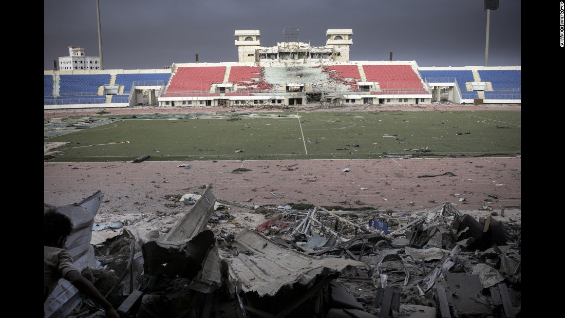 This soccer stadium was heavily damaged by shelling.