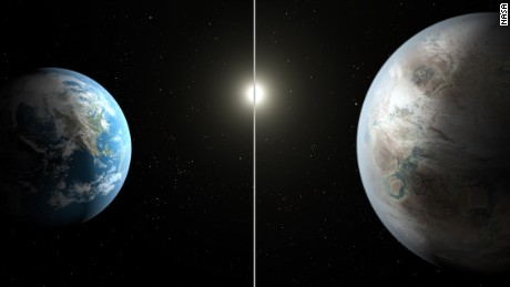 "NASA tweeted pictures of Earth and its ""bigger, older cousin"" on the right."