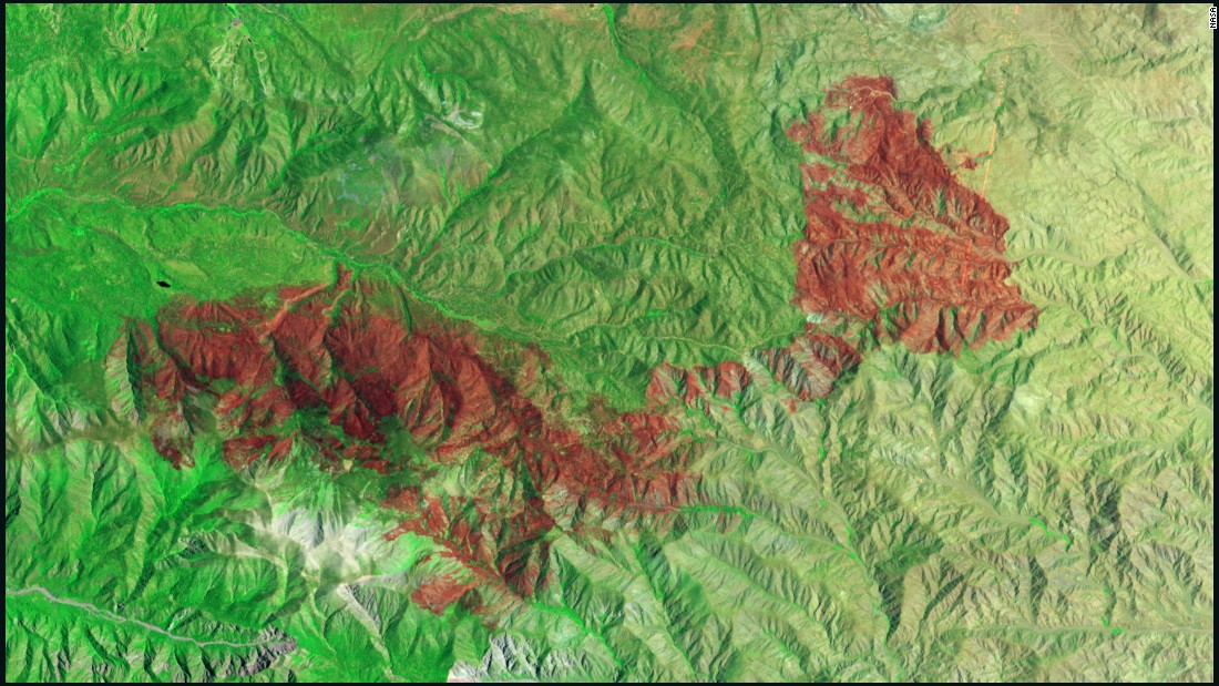 A fire raging in California's San Bernardino National Forest had scorched thousands of acres by early July. NASA's Earth Observing-1 satellite took this false-color image of a burned area spanning 49 square miles (127 square kilometers) on July 3. The burned areas appear dark red because they're reflecting shortwave infrared light.