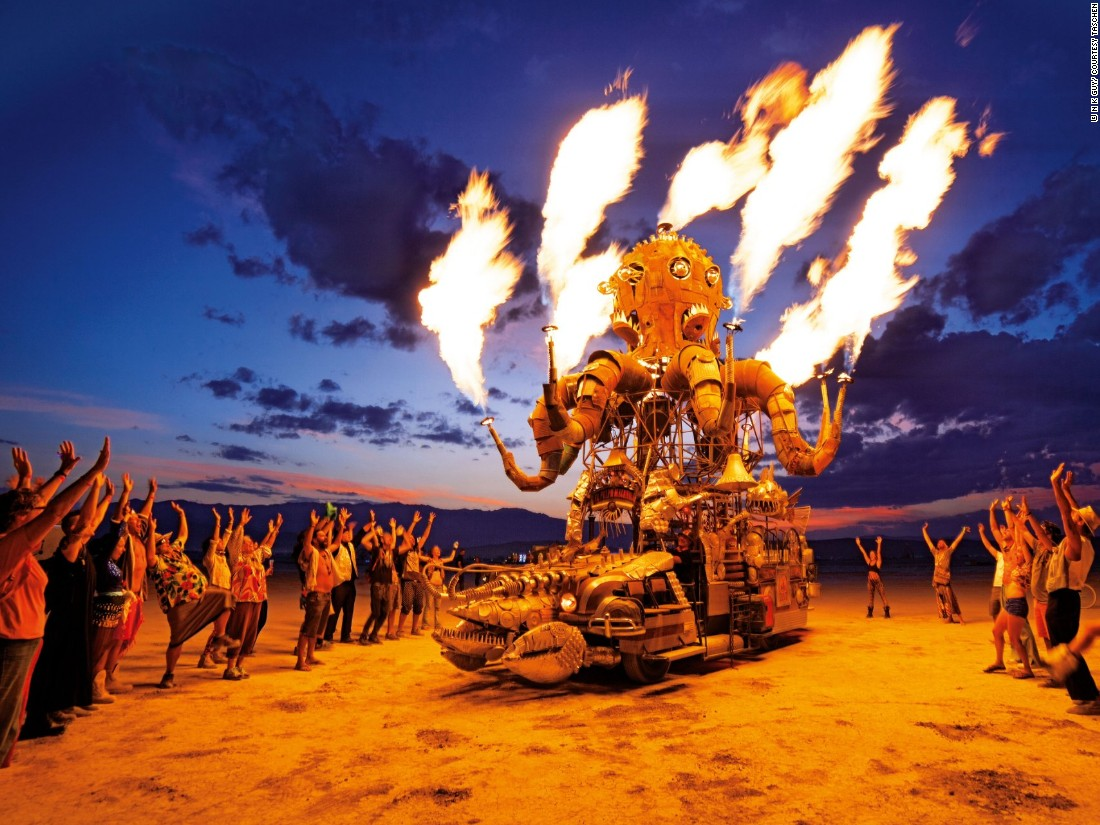 <strong>CNN Style: How has Burning Man changed (continued)?</strong><br /><br />N K Guy: Nowadays tickets are heavily in demand, and there's a desperate sense of competition to get there that didn't exist before. This is sad, but an inevitable consequence of growth. But more positively, it's helped fuel the tremendous growth of regional events, such as Nowhere in Spain.<br />But some things don't change. The dust, the vast scale of the desert against which we're all incomprehensibly small creatures, the gatherings of friends, the sense of open invitation to be who you want to be -- that's always part of Burning Man.<br /><br /><em>El Pulpo Mecanico by Duane Flatmo and Jerry Kunkel (2014)</em>