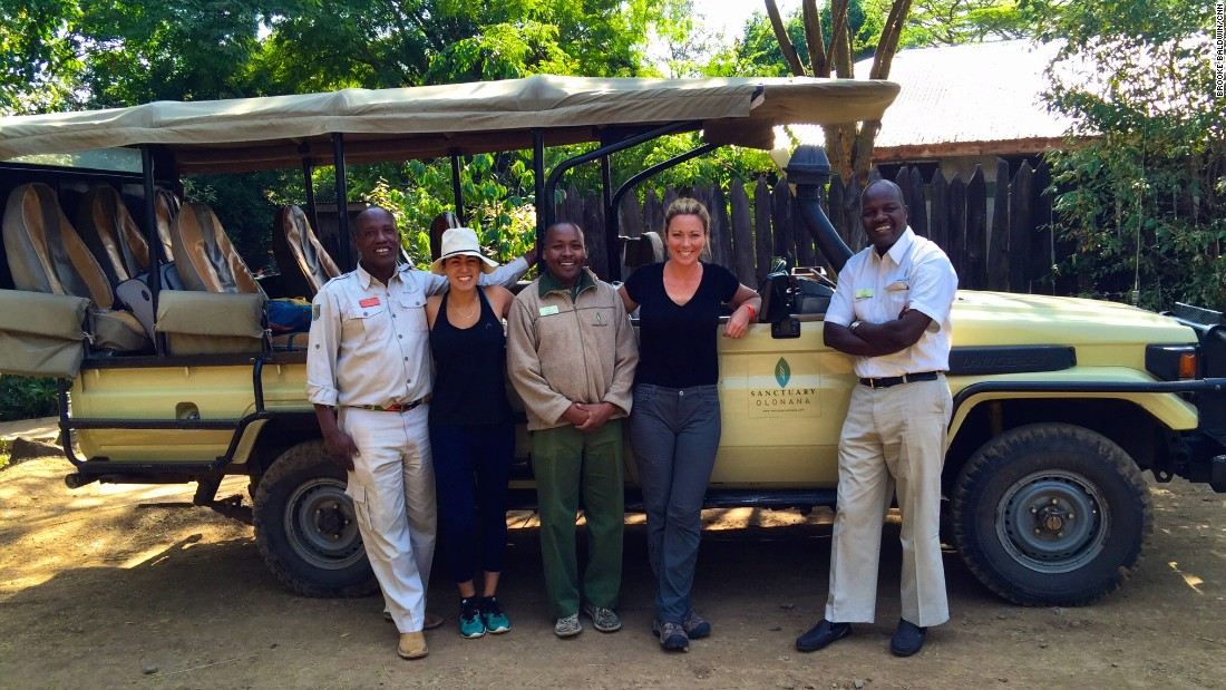 Brooke with her producer Lindsay Perna and members of the Sanctuary Olonana team, including Joseph Koyie, left, her Abercrombie and Kent/Sanctuary Olonana safari guide, who is from the Mara and a member of the Maasai tribe.
