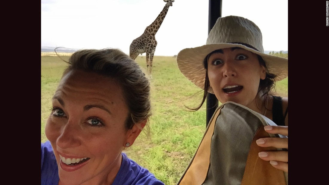 "The giraffe was Brooke's favorite animal spotted on safari. Trivia: A group of giraffes is called a ""tower."""