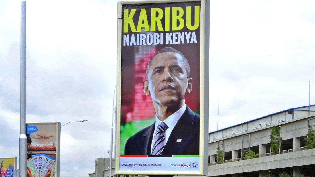 A banner bearing the likeness of the President of the United States, Barack Obama and bearing a 'welcome' message hangs over the arrival lounge of the Kenya's Jomo Kenyatta airport in Nairobi on July 23, 2015 less than 48 hours ahead of Obama's expected arrival. US President Barack Obama arrives in his ancestral homeland Kenya late on July 24, 2015, with a massive security operation underway to protect him from Al-Qaeda-linked Somali militants. Obama, making his first visit as president to his father's birthplace, will address an entrepreneurship summit and hold talks on trade and investment, security and counter-terrorism, and democracy and human rights. AFP PHOTO/Tony KARUMBA (Photo credit should read TONY KARUMBA/AFP/Getty Images)