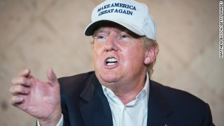 Republican Presidential candidate and business mogul Donald Trump talks to the media at a press conference during his trip to the border on July 23, 2015 in Laredo, Texas.