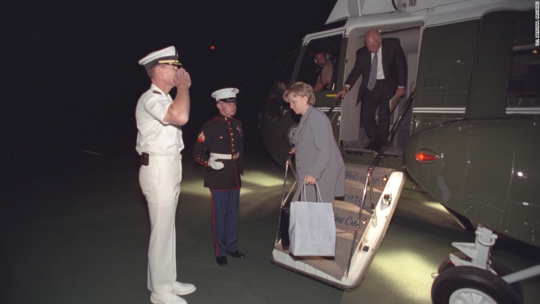 "Cheney and Lynne Cheney arrive at Camp David. This was the first in a series of ""undisclosed locations"" where the vice president camped out in the weeks after the attacks, <a href=""http://www.pbs.org/wgbh/pages/frontline/government-elections-politics/new-photos-show-bush-administration-reaction-to-911-attacks/"" target=""_blank"">PBS said</a>."