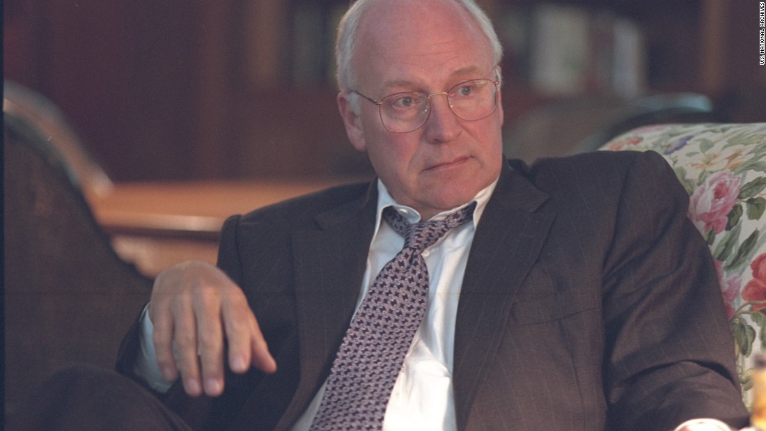 "Cheney, shown here at Camp David on September 11, 2001. A year later, he recalled to CNN's John King:  ""As we lifted off and headed up the Potomac [River], you could look out and see the Pentagon, see that black hole where it'd been hit. A lot of lights on the building, smoke rising from the Pentagon. And you know, it really helped to bring home the impact of what had happened, that we had in fact been attacked."""