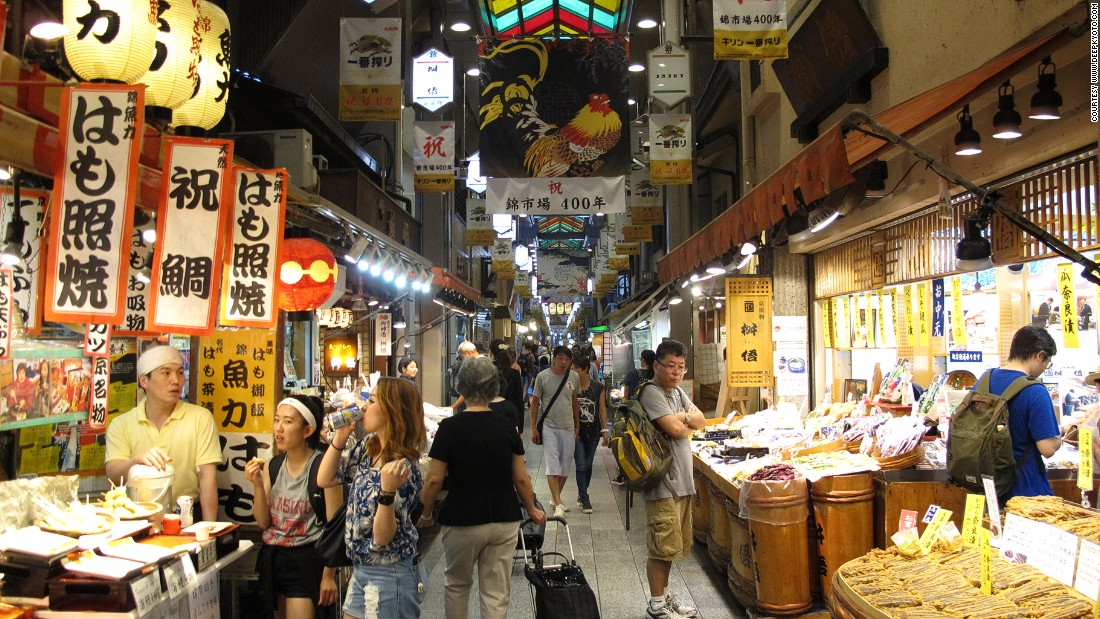 From fresh fish to donuts to sake, the 400-year-old Nishiki Market is the food market that has everything. You can easily spend a couple hours walking through it.