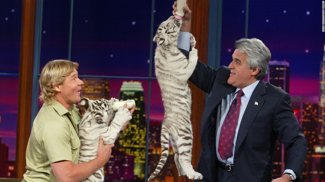 "The late Steve Irwin (left), also known as the ""Crocodile Hunter,"" appears with white tiger cubs on ""The Tonight Show with Jay Leno"" at the NBC studios on February 4, 2003 in Burbank, California."