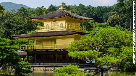 The glorious Golden Pavilion was rebuilt in 1955 after it was damaged in a fire.
