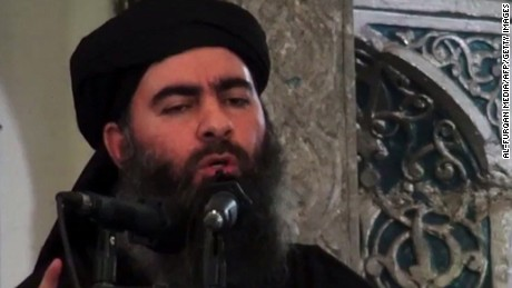 Abu Bakr al-Baghdadi, here addressing worshippers, beat Zeinat with a hose, she said.