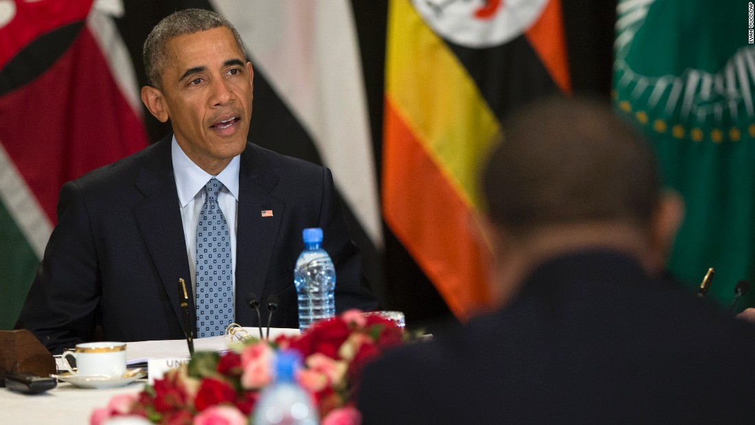 Obama speaks on South Sudan and counterterrorism issues during a multilateral meeting with Kenya, Sudan, Ethiopia, the African Union and Uganda on July 27.