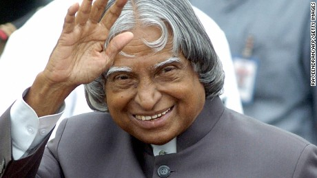 Indian President A.P.J. Abdul Kalam waves at New Delhi's Air Force station on September 11, 2004.