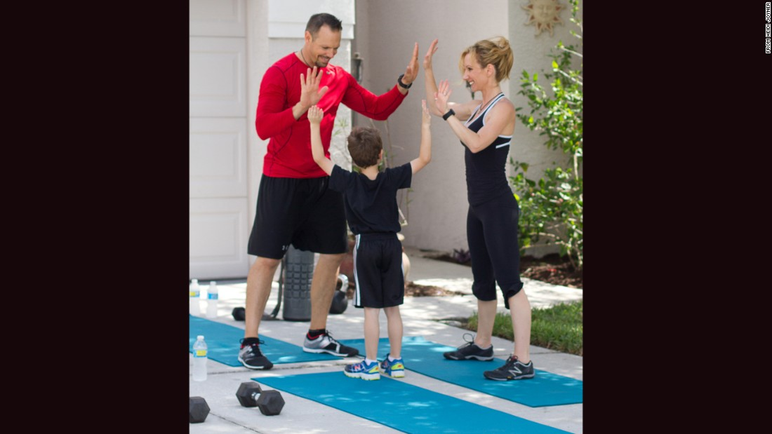 What better way to close out your family workout than with a celebratory high-five?