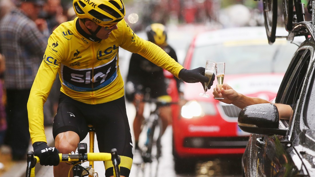 "Chris Froome celebrates <a href=""http://www.cnn.com/2015/07/26/sport/cycling-tour-de-france-froome-greipel/"" target=""_blank"">his Tour de France win</a> with a glass of champagne Sunday, July 26, in Paris. It was the second Tour de France title for Froome, who also won the race in 2013."