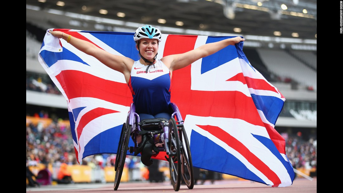 Paralympic athlete Hannah Cockroft celebrates after winning a 400-meter race at the Anniversary Games in London on Sunday, July 26.