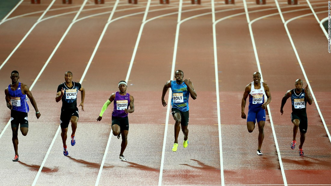 Jamaica's Usain Bolt, fourth from left, speeds past competitors on his way to winning the 100-meter dash at the Anniversary Games in London on Friday, July 24.