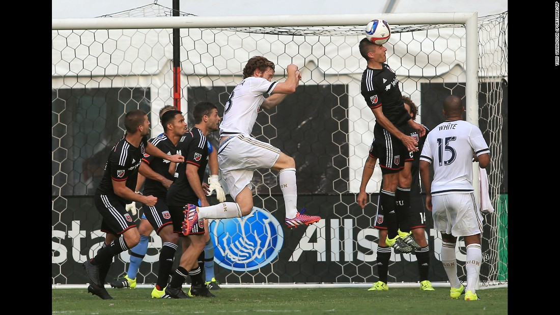 D.C. United midfielder Davy Arnaud clears the ball away from his goal during a Major League Soccer match in Washington on Saturday, July 26.