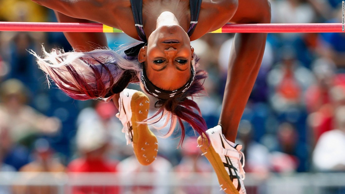 High jumper Priscilla Frederick, competing for Antigua and Barbuda, leaps over the bar during the Pan American Games on Wednesday, July 22. She won silver.