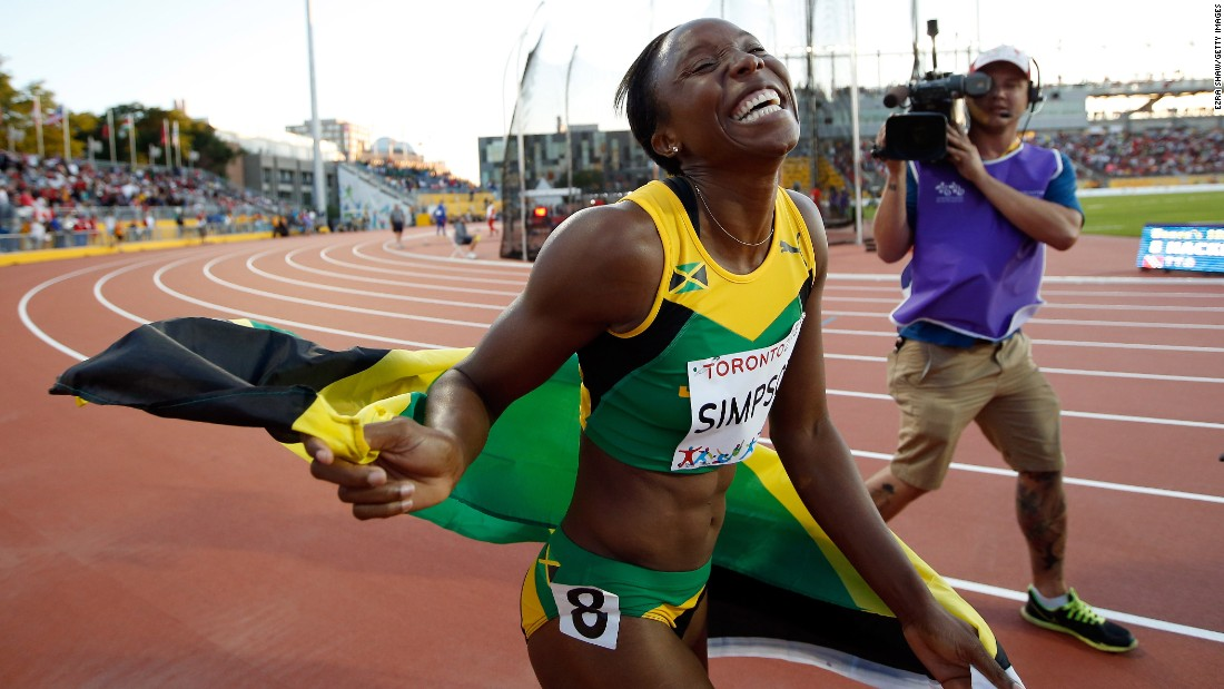 "Jamaica's Sherone Simpson smiles after winning gold in the 100 meters Wednesday, July 22, at the Pan American Games. <a href=""http://www.cnn.com/2015/07/21/sport/gallery/what-a-shot-sports-0721/index.html"" target=""_blank"">See 35 amazing sports photos from last week </a>"