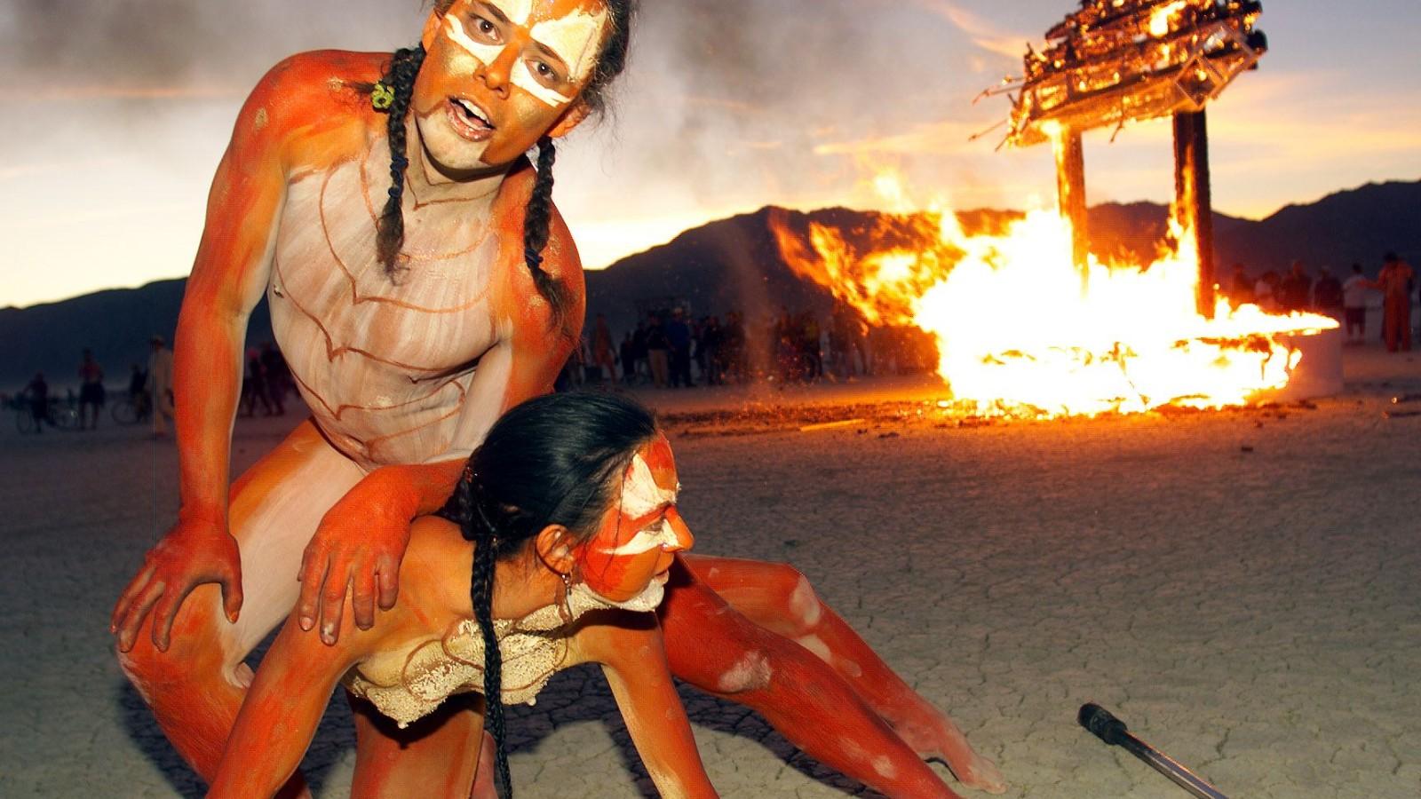 Man nude spanking burning