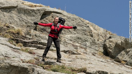 "Kate Winslet recreates her iconic ""Titanic"" scene on Monday's episode of ""Running Wild With Bear Grylls."""