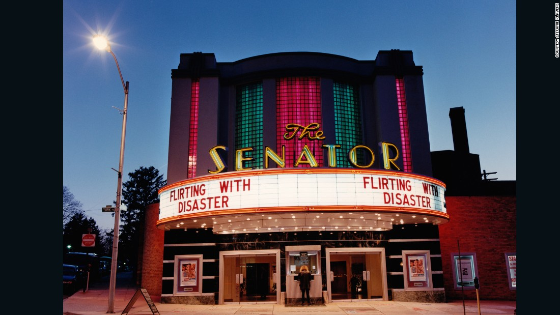 "Built in 1939, this historic cinema is still very much alive, showing the latest films such as ""Inside Out"" and ""Ant Man"" in an altogether more vintage setting. <br />The Senator was the first cinema Klavens photographed and this photo marks the beginning of an eye-opening project. <br />""I went to the movies there when I was in high school, so of course when I was experimenting with night photography this is where I went,"" she said.<br />""In my high school days, I didn't know much about the art deco period, I just knew that The Senator was from an earlier time period, and that I liked it because of that."""