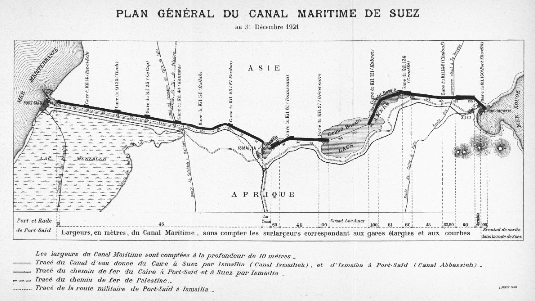 A 1921 map of the Suez Canal, running south from Port Said on the Mediterranean, through Ismailia and the Great Bitter Lake, to the Gulf of Suez on the Red Sea.