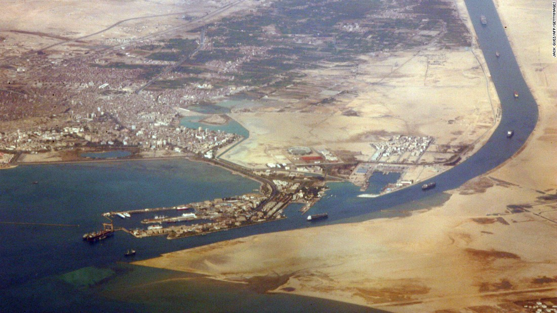 An aerial view taken on December 31, 2007 shows the southern entrance of the Suez Canal.
